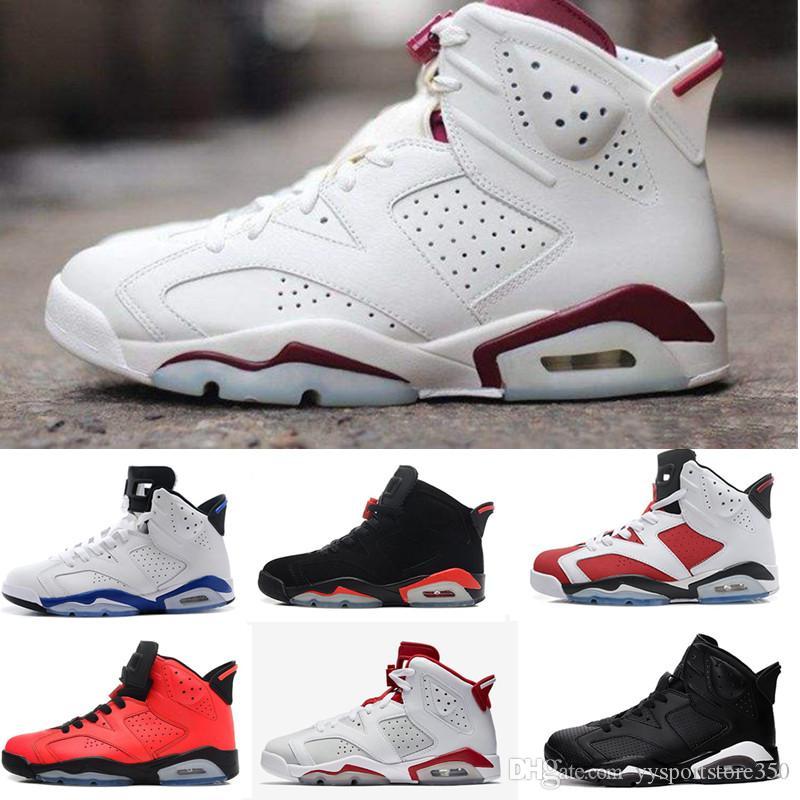 sports shoes 8885f c601b Großhandel Nike Air Jordan 6 Aj6 Retro 6 Karminrote Basketballschuhe  Classic 6s Unc Schwarz Blau Weiß Infrarot Niedrig Verchromt Damen Herren  Sport Blau Rot ...