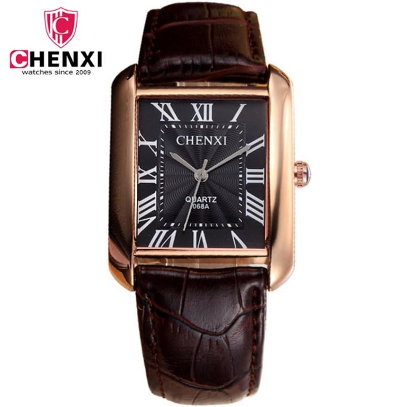 f10a0de3a95 Compre Moda Clássico Dos Homens Relógios De Quartzo CHENXI Luxo Clássico  Design Retangular Masculino Relógios Relogio Masculino Horloges Erkek Saat  De ...