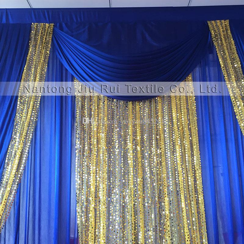 Toppest Vente 3mH x3mW mariage / fête / anniversaire / Noël soie glace fond et décoration événement rideau sequin