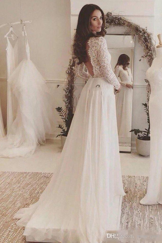 2018 Sexy Deep V Neck Lace Long Sleeve Wedding Dresses Cheap Backless Sweep Train Country Flowy Chiffon Plus Size Beach Wedding Gown