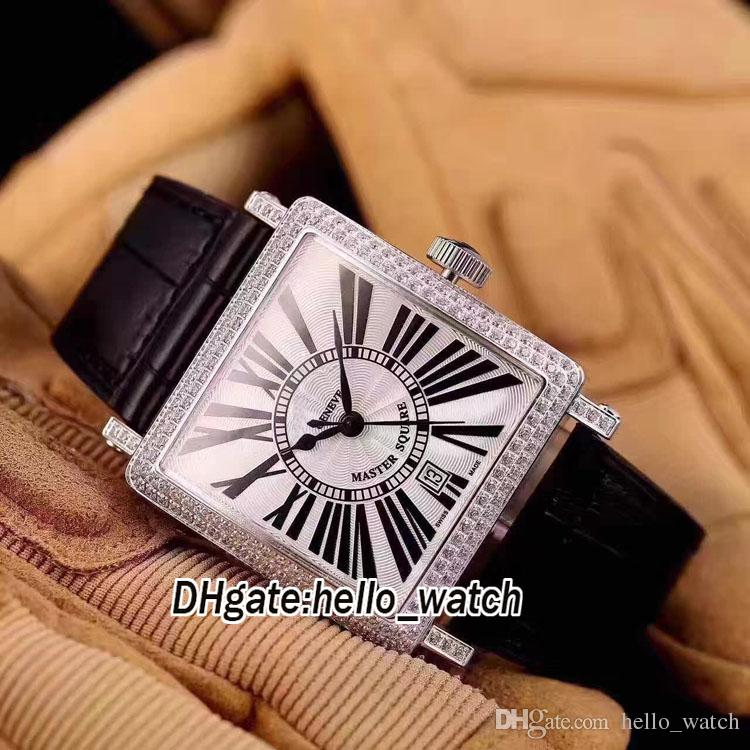 Master Square 6000 H SC White Dial Automatic Mens Watch Diamond Bezel Leather Strap Silver Case High Quality Watches