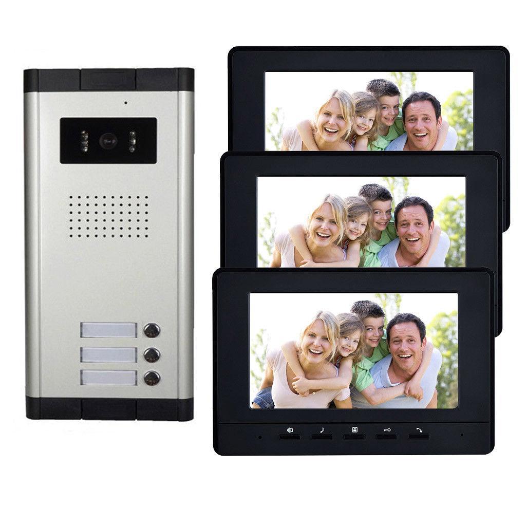 3 Units Apartment Intercom System Video Door Phone Door Intercom Hd