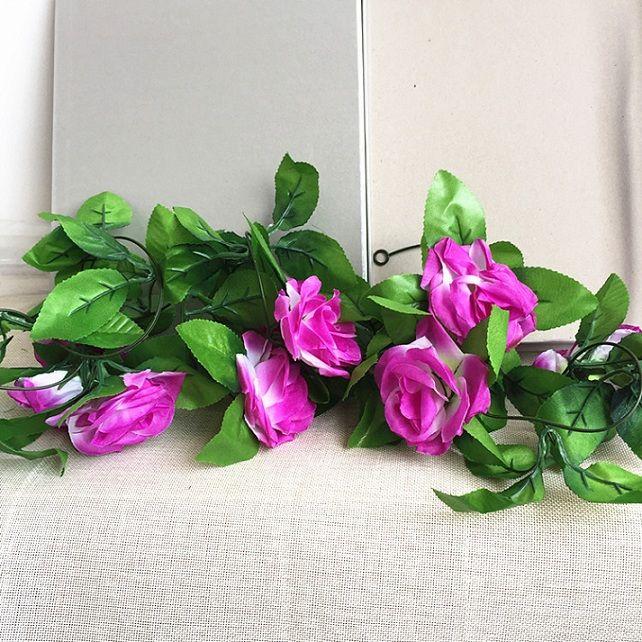 245cm Wedding decoration Artificial Fake Silk Rose Flower Vine Hanging Garland Wedding Home Decor Decorative Flowers & Wreaths