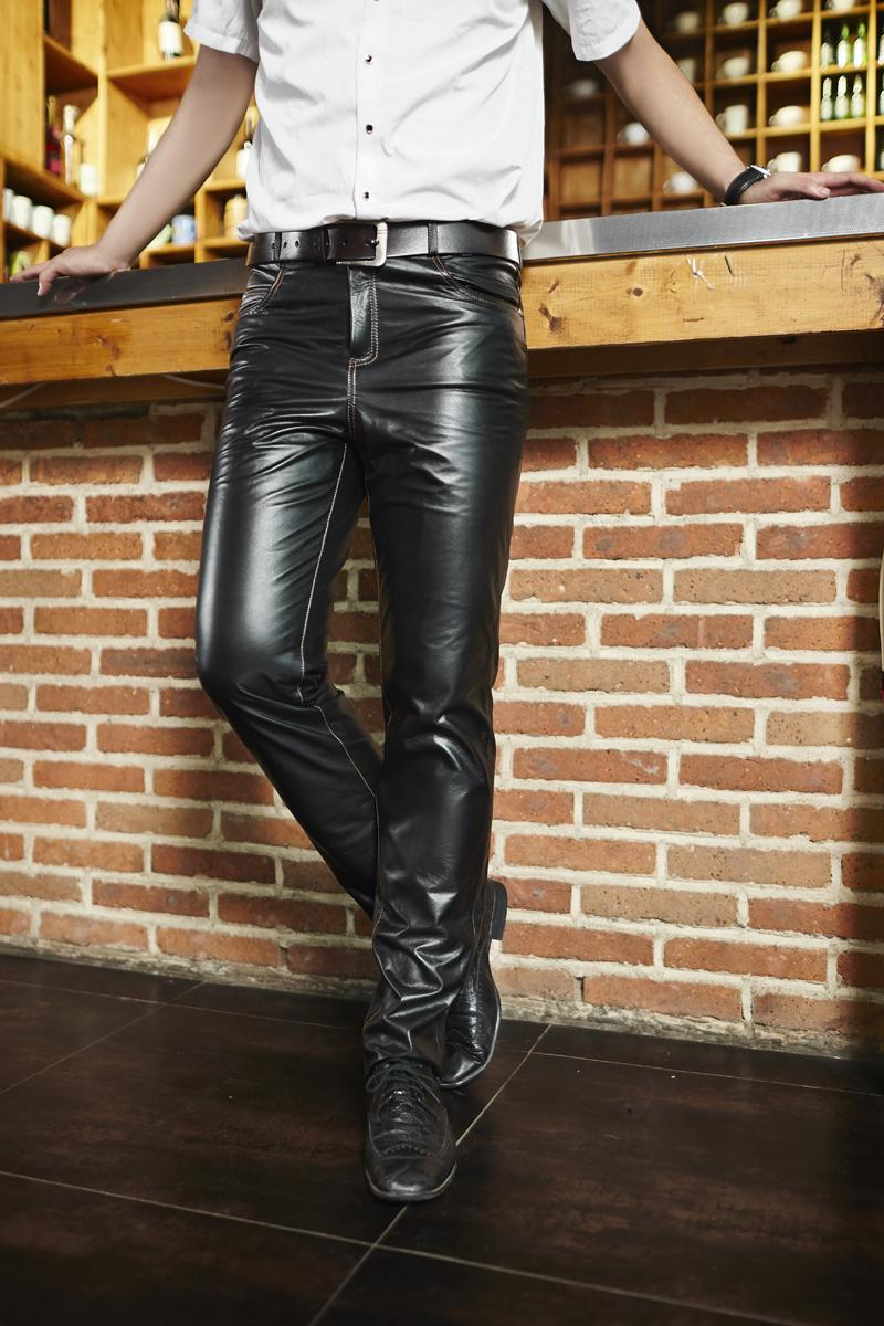 a89f0de99aa97 2019 2018 New Men S Leather Pants Warm Outdoor Sports Motorcycle Long Slim Leather  Pants Leather Pants Autumn And Winter Models From Shenyangjiumei