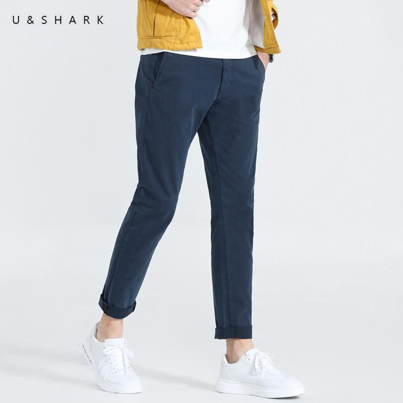 131760bed4b3 2019 U SHARK Spring Autumn New Mens Casual Pants Slim Fit Clothing Men  Straight Trousers Cotton Fashion Business Navy Blue Pants Male From  Vanilla01