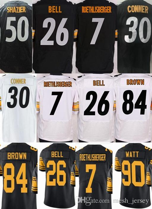 huge discount f23dd b375a Pittsburgh Steeler jersey Elite men 26 Le'Veon Bell Polamalu 90 TJ Watt 7  Ben Roethlisberger James Conner 84 Antonio Brown Shazier jerseys