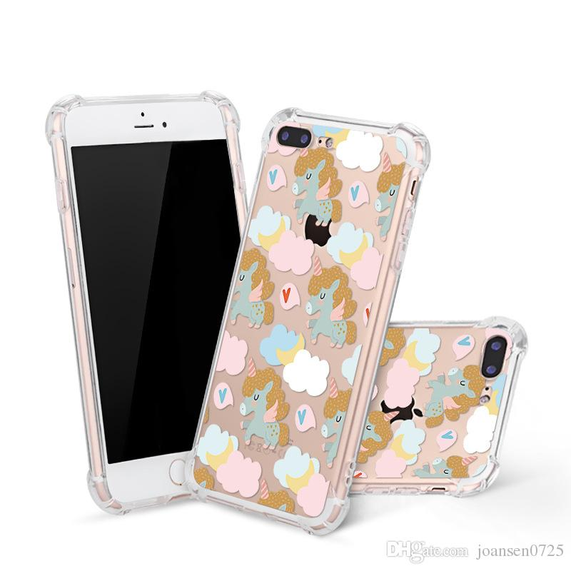Shockproof Soft TPU Phone Case For iPhone X 6 6S 7 8 Plus Xs Max Xr Samsung Galaxy S7 Edge S8 S9 Note 8 Cute Unicorn Painted Case Cover