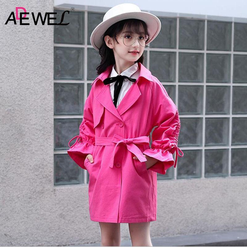 save off e206a dcc64 ADEWEL Giacca a vento autunno bambina stile inglese lungo principessa  giacca a soffietto per bambini 4-13 anni soprabito primavera bambini ...