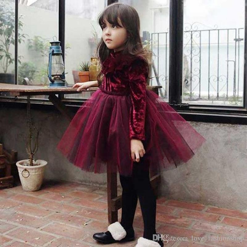 5ca0258c3 Navidad bebé niñas vino rojo terciopelo cuello alto princesa vestido niños  cosplay de halloween manga larga fiesta vestido ropa ropa para niños