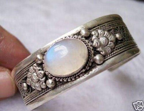 Wholesale price 16new ^^^^China Tibet Silver White moonstone cuff Bracelets