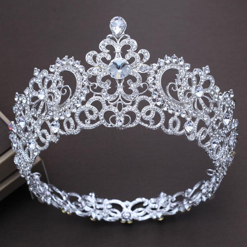 2019 Large Baroque Crown Tiara Bride Wedding Headband Headpiece Palace Vintage  Round Full Ring Flash Crystal Hair Accessories From Jiushixihuanni2085 0b1fe5a602e6