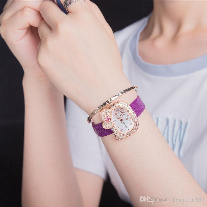 Reloj de dibujos animados de ventas caliente Hello Kitty reloj niños chica estudiante mujeres vestido de cristal completo Reloj de pulsera de señora de cuarzo reloj lindo