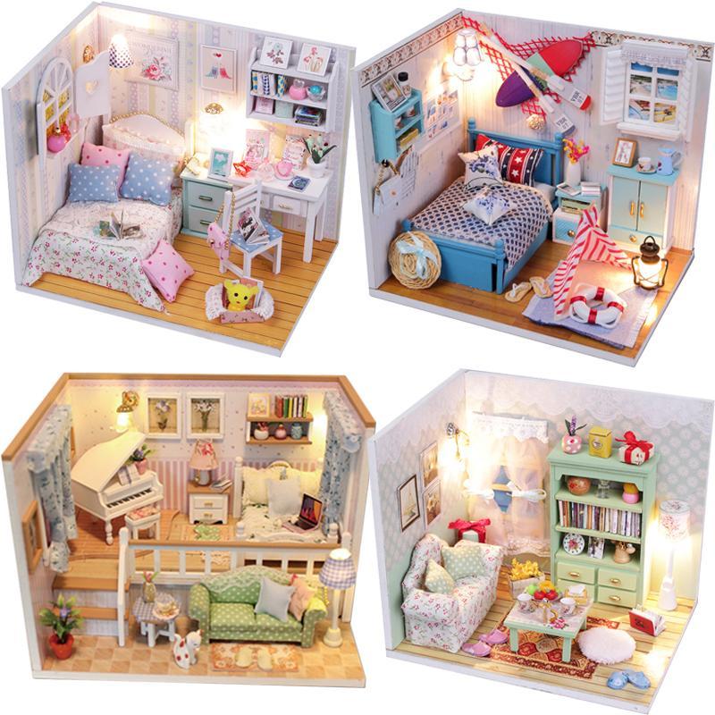 Großhandel Diy Puppenhaus Miniatur Puppenhaus Casa Spielzeug Mit ...