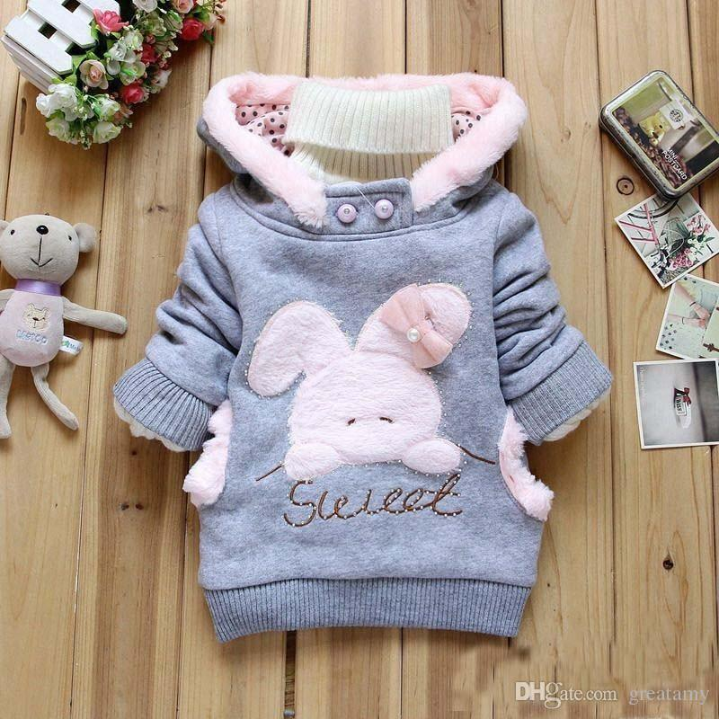 Girls bunny sweatshirts cartoon rabbit bear plush velvet fleece sweatshirt hoodie cute pullover outwear pink gray coat