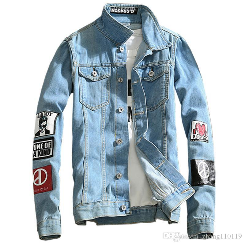 2018 Spring New Top Quality Denim Jackets Men Hip Hop Clothing Long
