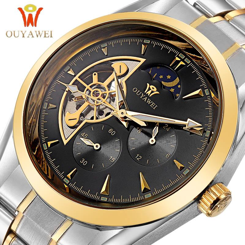 OUYAWEI GOLD Mechanical Wrist Mens Watch Top Brand Luxury Automatic Clock Men Stainless Steel Skeleton Reloj Hombre OYW01