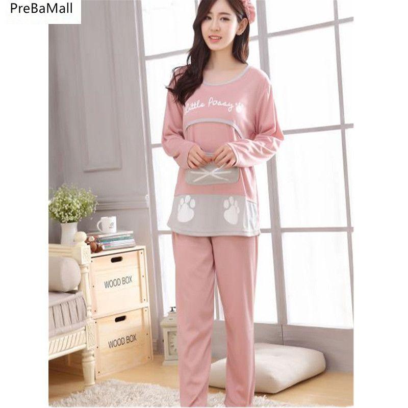 28f2dcc5d00 2019 Pregnancy Pajamas Autumn Winter Maternity Nursing Sleepwear Long Sleeve  Pijama Maternal Lactancia Pyjamas Women Outer B0452 From Bdshop, ...