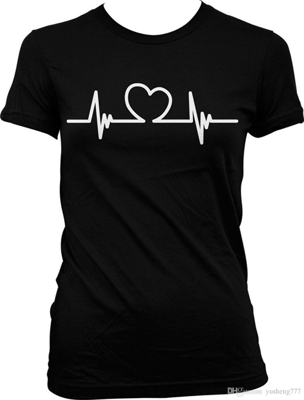 026384cb838a1 Compre Camisetas Estampadas Amor Mi Enfermera Feliz Día De San Valentín  Amor Juniors Camiseta Corto O Cuello Compresión Camisetas Para Hombres A   11.16 Del ...
