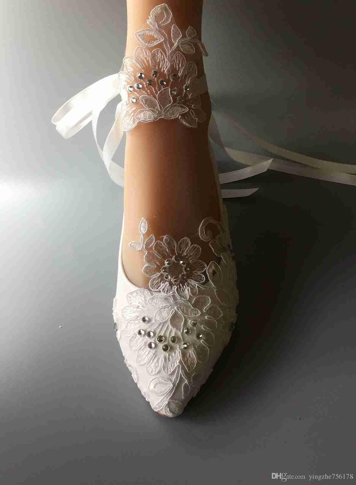 Wedding Handmade Shoes White Ribbon Bride Dresses Han Edition Diamond Lace Manual Flat Shoe Female Flower Eu 35 41 Silver Wedge: Dress Flat Wedding Shoes At Websimilar.org