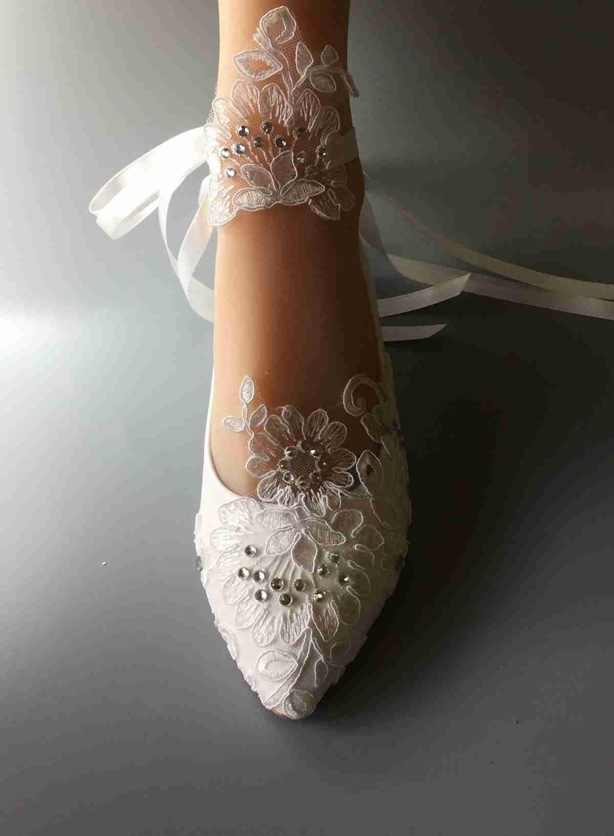 4c9f2b180dbb ... Ribbon Bride Wedding Dresses Han Edition Diamond Lace Manual Wedding  Flat Shoe Female Flower EU 35 41 Silver Wedge Wedding Shoes Something Blue  Wedding ...