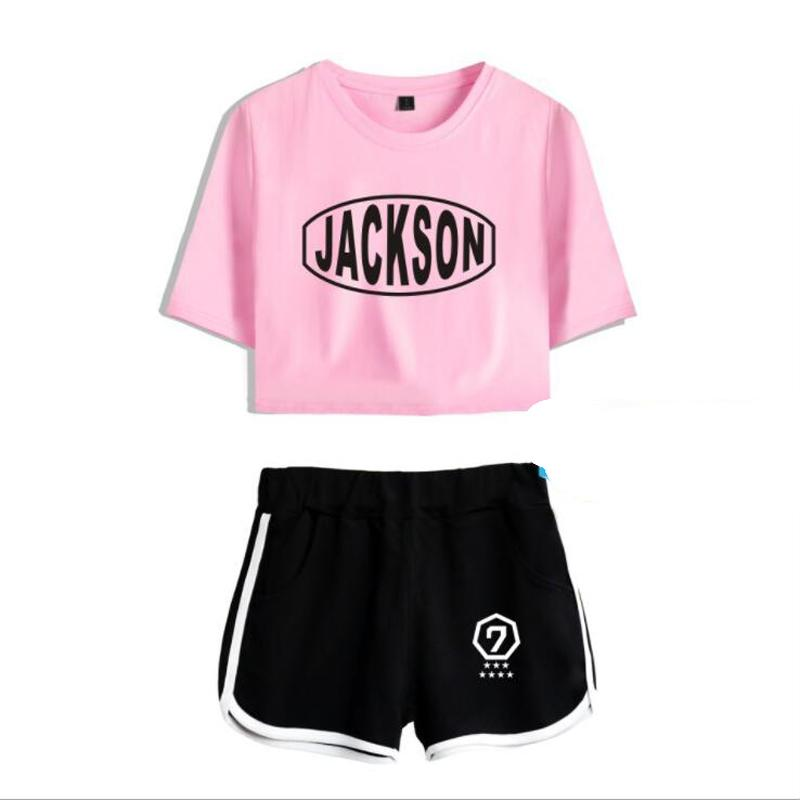 17d756b1b08 KPOP GOT7 Two Piece Set Women Cotton Short Sleeve T-Shirt Crop Top+Shorts  Outfit 2 Piece Set Women Clothing Summer Female Suits