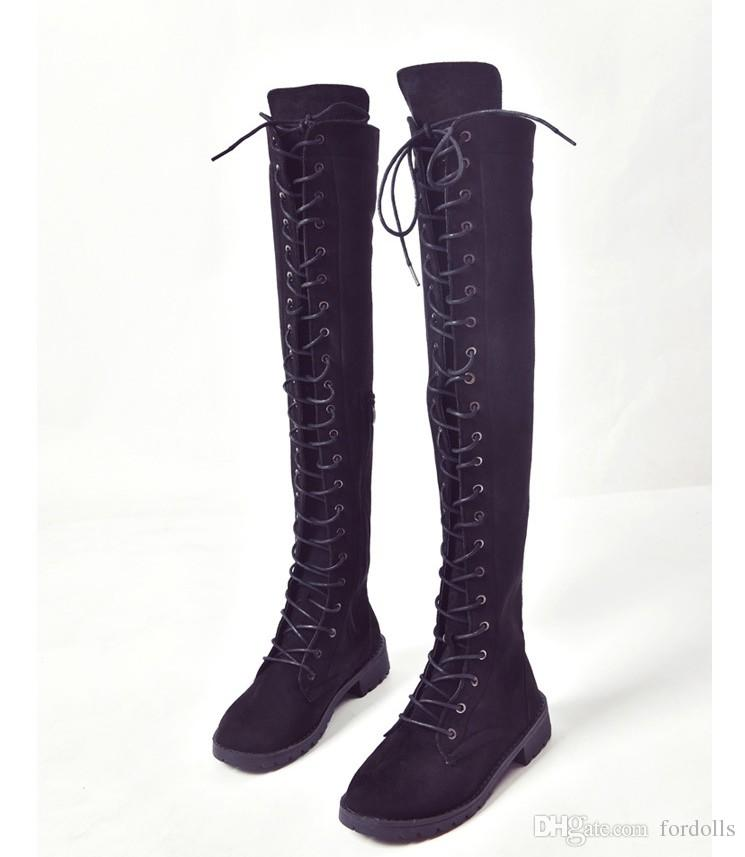 Over Knee High Boots Low Heels Women Thigh High Boots Round Toe