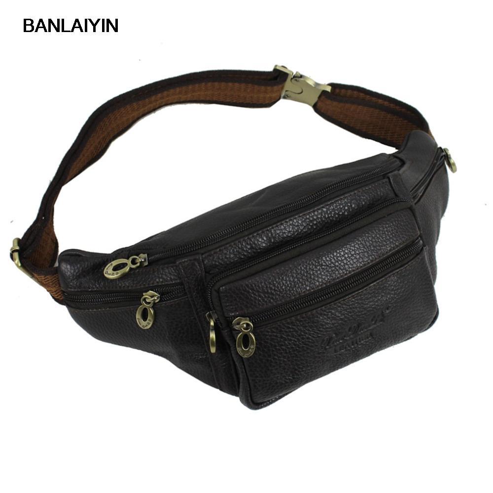 922ea9ce6949 Men Genuine Leather Vintage Travel Messenger Shoulder Sling Chest Hip Bum  Belt Fanny Pack Waist Bag Purse