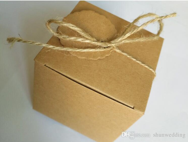 Scatole di cartone da cerimonia nuziale di carta Kraft Brown Scatole di cartone quadrato imballaggio Box regalo Forniture feste /