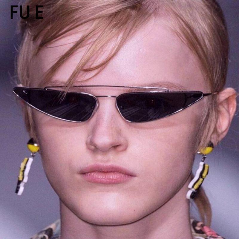 Compre Fu E 2018 Olho De Gato Óculos De Sol Das Mulheres Designer Triângulo Pequeno  Óculos De Sol Armação De Metal Uv400 Nova Moda Óculos De Sol 98301 De ... ca5234c667
