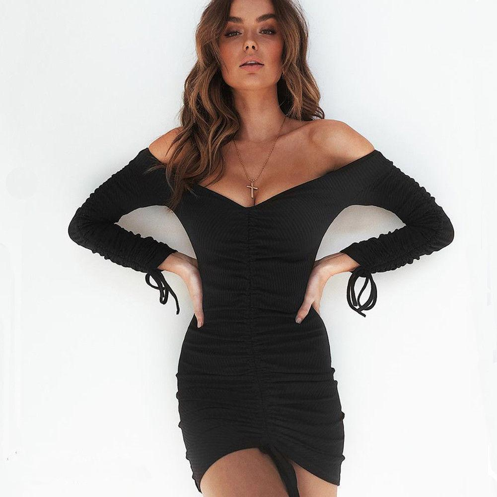 369310ba651c New Women Dress Evening Party Bandage Bodycon Dress Off Shoulder Long  Sleeve Mini Dress Sexy Vestido Fashion White Dress Women Black Dress Casual  From ...