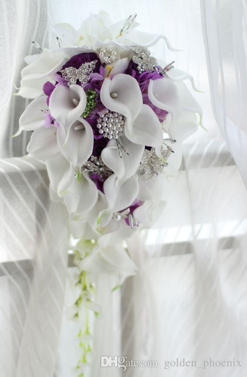 2018 High-end personalizzato bianco Calla Lily Rose viola ortensia fai da te perla spilla di cristallo goccia bouquet da sposa