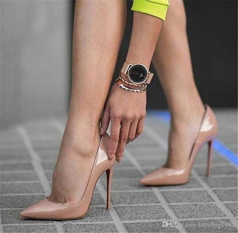 d3769407bd Sexy Rivets Shiny/Patent Leather High Heels Nude Pointed Toe Pumps Shoes  Party Shoes Women Stiletto High Heel Pump 12cm Formal Shoes For Men Formal  Shoes ...