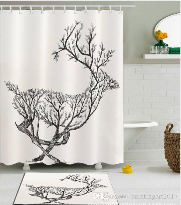 2019 3D Polyester Fabric Black White Deer Print Shower Curtains With 12 Hooks For Bathroom Decor Modern Bath Waterproof Curtain Floor Mats Sets From