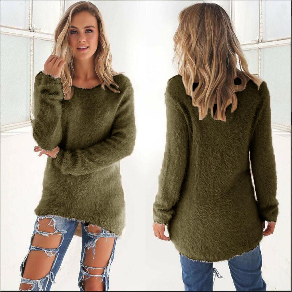 504c663d7d0 2019 Plus Size O Neck Womens Casual Solid Long Sleeve Jumper Sweaters Blouse  Polyester Spandex Fleece Material 2017 From Freea