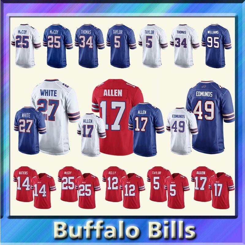 400d7c102 17 Josh Allen Buffalo Bills Jersey 27 Tre Davious Blanc 49 Tremaine ...