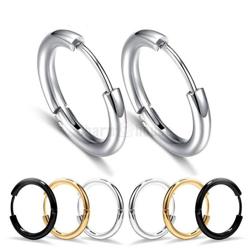 942e20456 2019 316L Stainless Steel Hoops Earrings For Men Small Circle Earring Man  Punk Hiphop Pierced Ear Cuff Brand Jewelry Male Accessories From Buete, ...