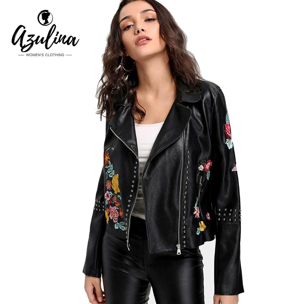 5374b1fe9 AZULINA Studded Floral Embroidered Faux Leather Biker Jacket Autumn Winter  Biker Jacket Women Black Motorcycle Leather Coat
