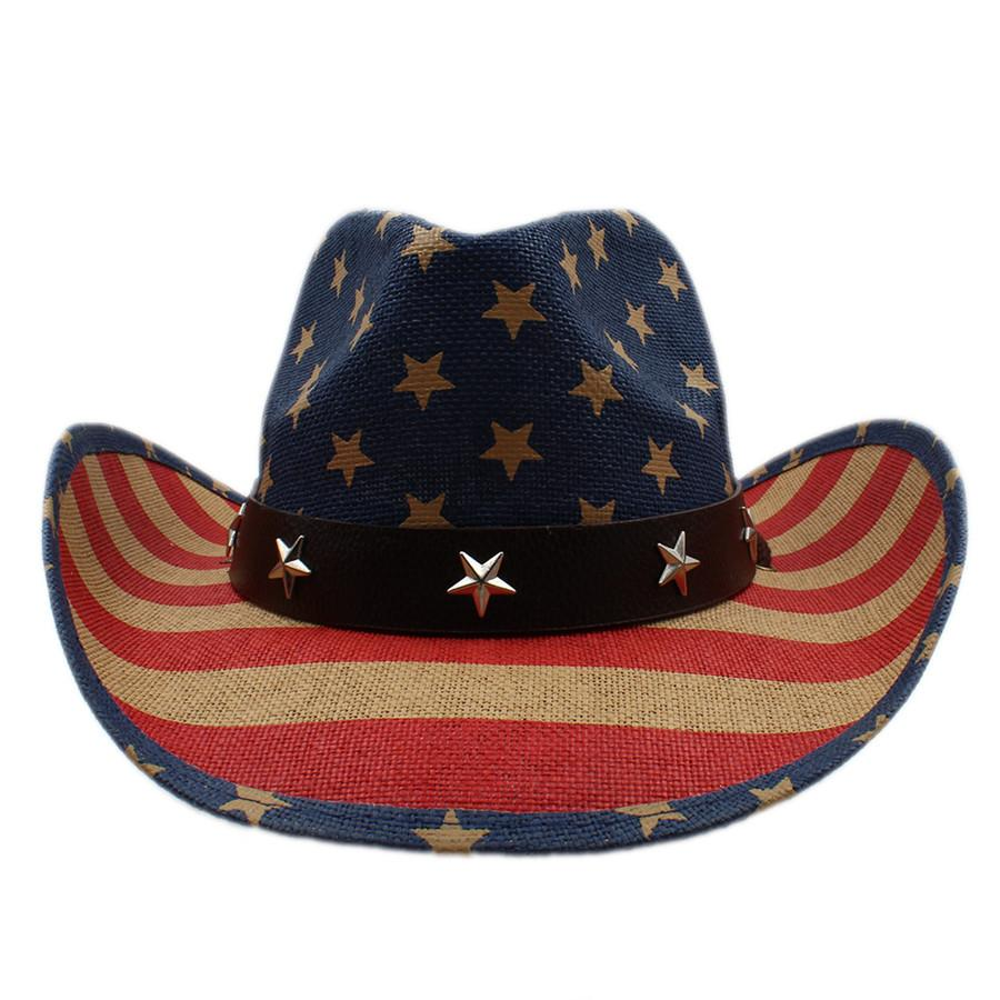 Summer Women Men Hollow Western Cowboy Hat Gentleman Cowgirl Jazz  Equestrian Cap Dad Sombrero Beach Sun Hat American Flag Birthday Party  Favors Birthday ... 013cd1625fa7