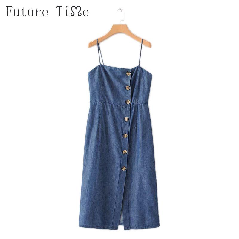 2a28f88b4a9 2019 Future Time Dress Women Summer Denim Sundress Spaghetti Strap ...