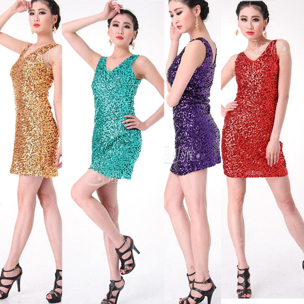f1bb17201f83 Women Modern New Sequined Dancing Dress Costume Party Performance ...