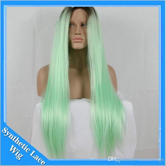 Perucas Cosplay Ombre Mint Verde Longo Em Linha Reta Peruca Dianteira Do Laço Sintético Resistente Ao Calor Glueless Dois Tons Preto / Verde Claro cabelo para As Mulheres Negras