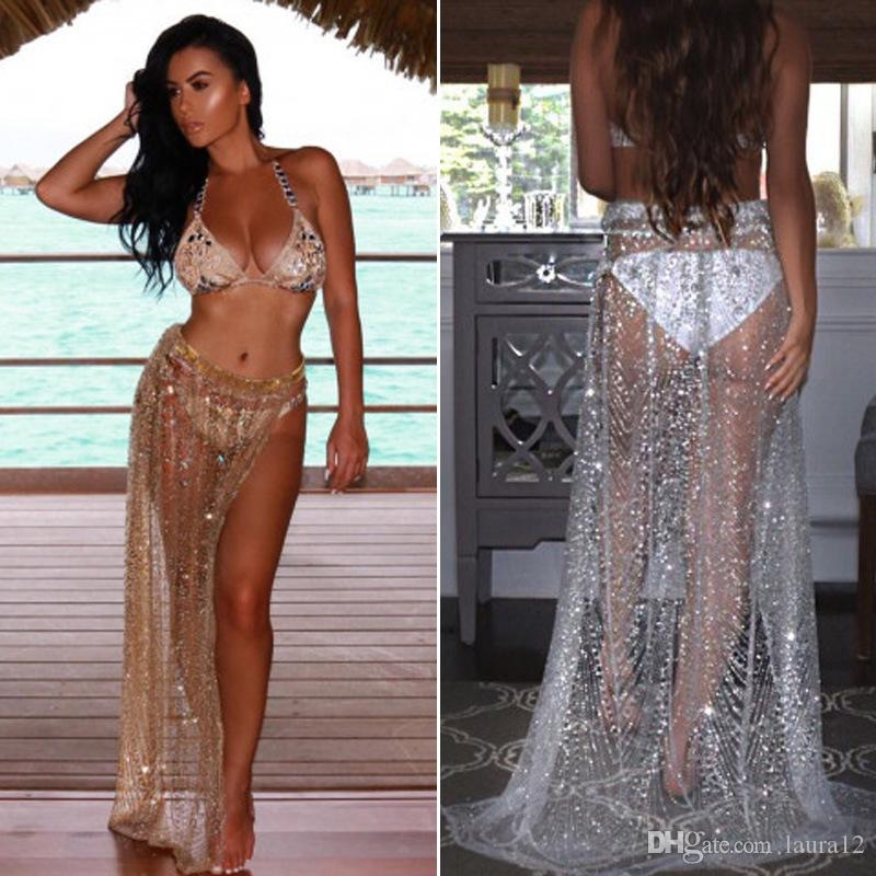 c058dcd5405cc 2019 2018 Hot Sexy Bling Sequins Bikini Skirts Side Split See Through  Sequined Long Swimsuit Cover Up Holiday Beach Dress Silver Gold Colors From  Laura12