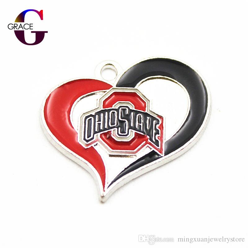 the latest 5c368 1b291 12pcs/lot NCAA Ohio State Buckeyes Team Sport Hanging Dangle Floating  Charms For Women Bracelet Necklace Pendant DIY Jewelry
