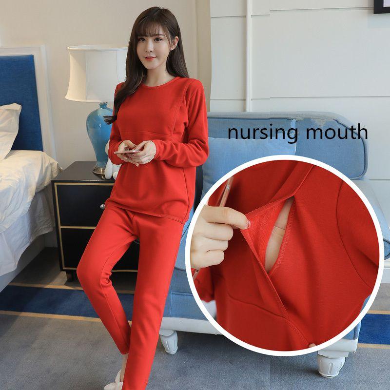... 2018 Nursing Pajamas Sets Comfy Sleepwear Maternity Pijamas  Breastfeeding Nightwear For Pregnant Women Maternity Nightgowns Warm ... 480ba4ca4