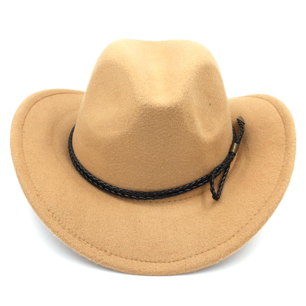 bb424e487fa New Fashion Men Women Wool Blend Western Cowboy Cap Church Hat Outdoor Wide  Brim Sombrero Godfather Cap Leather Rope Hat Store Fedora Hats For Men From  ...
