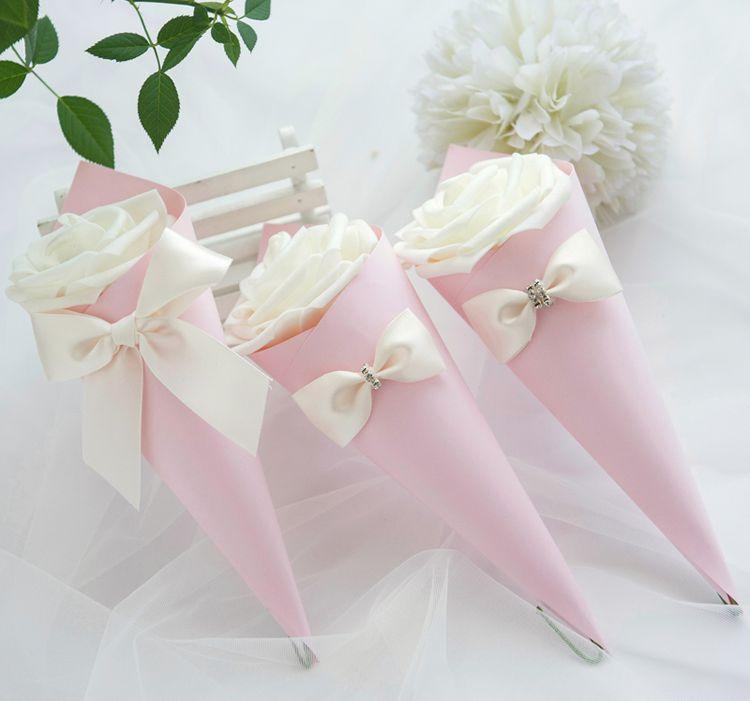 Cone Shaped Papier Gunst Halter Schokolade Boxen für Hochzeit Geburtstag Brautparty Partygäste viel Großhandel