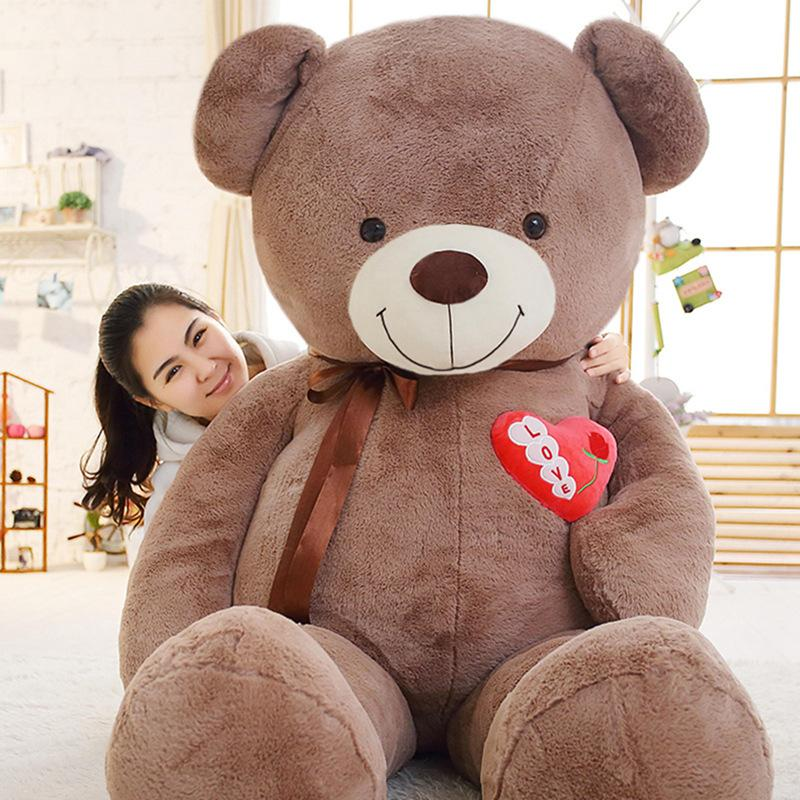 f9b46b83f08 2019 75cm 90cm Large Teddy Bear Plush Toy Lovely Huge Stuffed Soft Bear  Wear Bowknot Kids Toy Birthday Gift For Girlfriend From Cover3085