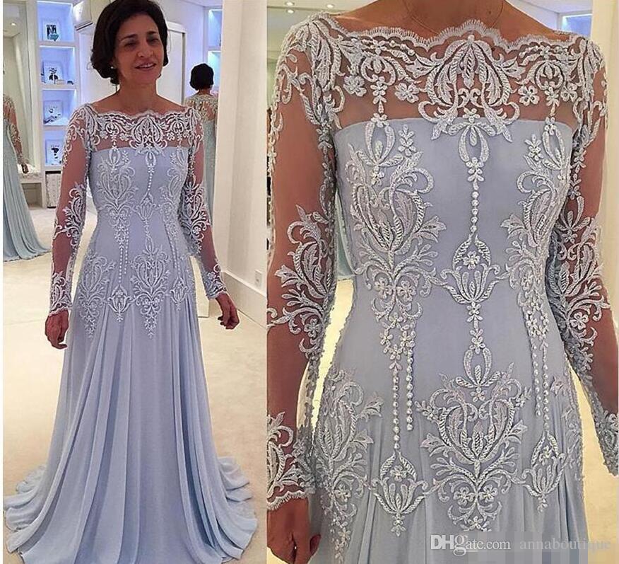 2018 Vintage Long Sleeves Plus Size Mother of Bride Groom Dresses ...