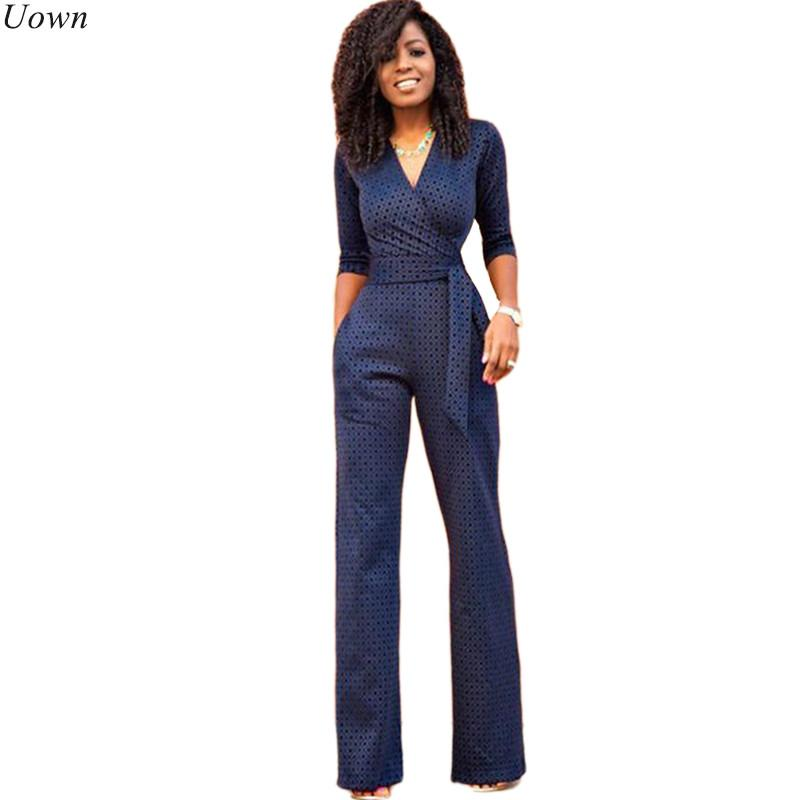 0f2bdee98019 2019 Deep V Neck Elegant Formal Jumpsuits Women Half Sleeve Belted Business  Work Bodysuits Rompers With Straight Wide Leg Pants From Florence33