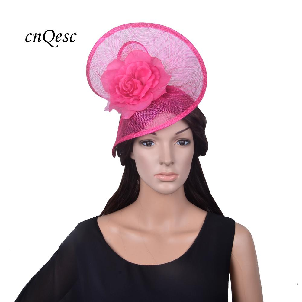 Exclusive Design BIG Fuchsia Hot Pink Sinamay Fascinator Wedding Hat Fedora  With Silk Flower For Wedding Kentucky Derby Vintage Style Hats Wedding  Guest ... 443c431dbde